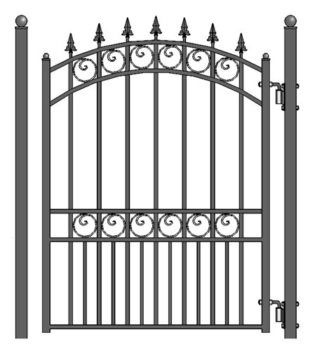 ALEKO PGLON London Style Ornamental Galvanized Steel Pedestrian Security Gate 5 x 4 Feet Black ()