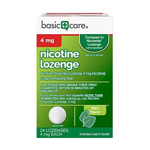 - Basic Care Nicotine Lozenge, 4mg, Stop Smoking Aid, Mint, 24 Count