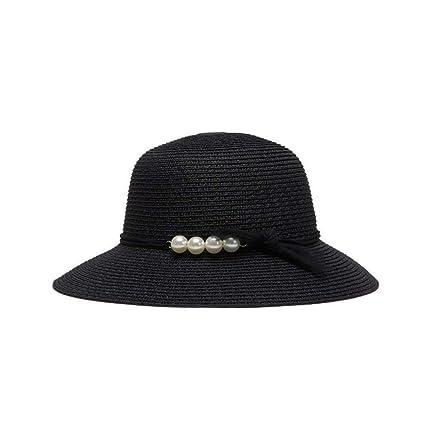 Yisaesa Perla Decoración Sombrero de Paja ala Grande Sombrero para el Sol Mujer  Mujer Caos ( d956bfb0271