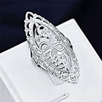 925 Silver Plated Hollow Big Wedding Ring Size 6,7,8,9,10 Women Fashion Jewelry (7)