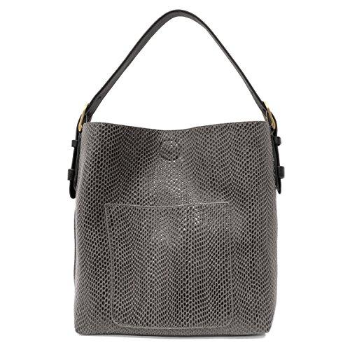 Sara Hobo - Joy Susan Python Sara Bucket Hobo Handbag (Charcoal)