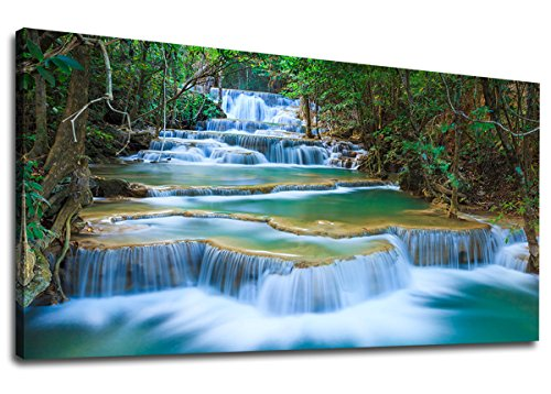 (Large Canvas Wall Art Blue Waterfall Green Tres Painting Long Forest Canvas Artwork River Contemporary Nature Picture for Home Office Wall Decor 24