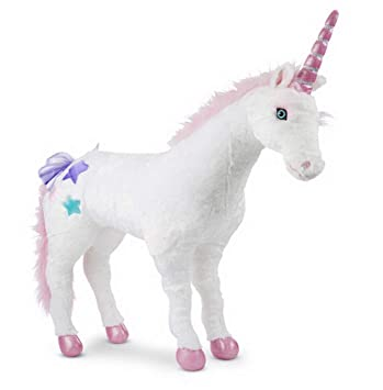Woodega – Jumbo Unicorn Niños Fortuna Unicornio plástico de Peluche Rosa con Crin, 81 x