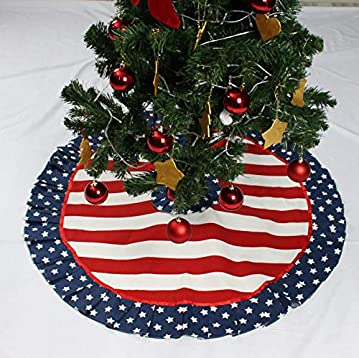 Patriotic Christmas.Patriotic Tree Skirt Christmas Tree Skirt Us Flag Stars And Stripes 25 To 80 Holiday Decor Red White Ruffle Tree Skirt Patriotic Christmas Decor