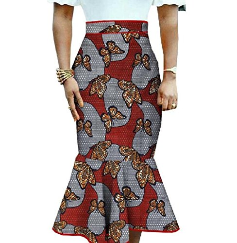 Beeatree Women Africa Midi Printed Dashiki Mermaid Elegant Bodycon Skirt 4 M by Beeatree-women clothes