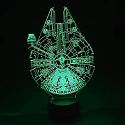 04 Millennium Falcon 3D Optical Illusion Night lamp 7 Color Changing LED Light for Kids Bedroom Decor