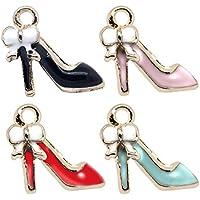 M256-E 8pcs New Cute Assorted Tiny High Heel Shoe Bracelet Charms Pendants Wholesale