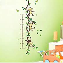 DIY Cartoon Monkey Growth Height Chart Wall Stickers Decals Nursery Children's Bedroom