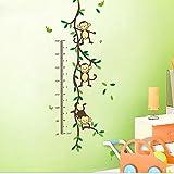 Nursery Children's Bedroom DIY Cartoon Monkey Growth Height Chart Wall Stickers Decals