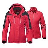 OutdoorMaster Women's 3-in-1 Ski Jacket - Winter Jacket Set with Fleece Liner Jacket & Hooded Waterproof Shell - for Women (True Red,L)