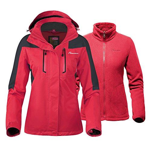 - OutdoorMaster Women's 3-in-1 Ski Jacket - Winter Jacket Set with Fleece Liner Jacket & Hooded Waterproof Shell - for Women (True Red,XL)