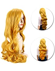 80 cm Colorful Long Wave Curly Hairpieces with Bangs Cosplay Wig Lolita Style Anime Cosplay Wigs(Yellow)