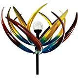 The Original Solar Multi-Color Tulip Wind Spinner-Solar Powered Glass Ball Emits Color