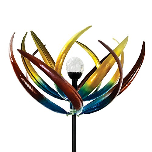 The Original Solar Multi-Color Tulip Wind Spinner-Solar Powered Glass Ball Emits Color-Changing Light - Made of Metal and Steel - Metal Whirligigs