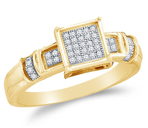 Sonia Jewels Size 10-10K Yellow Gold Round Diamond Engagement Ring - Micro Pave Square Princess Center Setting Shape (1/8 cttw.) ()