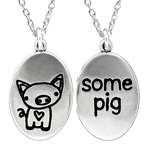 Reversible Charlotte's Web Sterling Silver Pig Necklace on 18