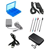 SN-RIGGIR 6 in 1 Accessory kit Hard Travel Case For 3DS XL + 28 In 1 3DS Game Card Holder + 5-Pack Retractable Stylus Pens For 3DS XL+ USB Charger Cable F+ AC Power Adapter+Car charger For 3DS XL 3DS