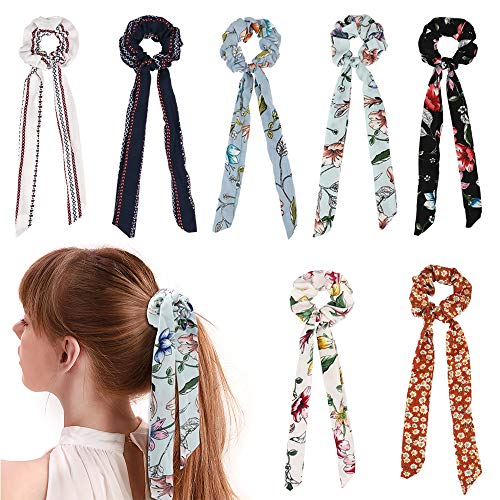 TOBATOBA 7Pcs Chiffon Hair Scrunchies Bowknot Ribbon Elastics Hair Bands Scrunchy Flowers Hair Rope Ties Hair Bow Ponytail Holder for Women