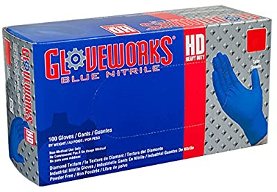 AMMEX - GWRBN48100-BX - Nitrile Gloves - Gloveworks - HD, Disposable, Powder Free, Latex Rubber Free, 6 mil, XLarge, Royal Blue (Box of 100)