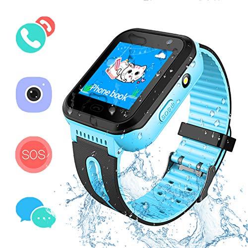 SZBXD Kids Waterproof Smartwatch GPS/LBS Tracker - Boys & Girls IP67 Waterproof Smart Watch Phone SOS Camera Anti-Lost Games Back to School Sports Watches Student Gifts(Blue)