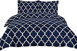 3 Piece Duvet Cover Set (King, Navy Blue) Duvet Cover with 2 Pillow Shams - Hotel Quality Brushed Microfiber - Luxurious and Extremely Durable - by Utopia Bedding