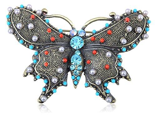 Alilang Womens Gunmetal Tone Faux Pearl Vintage Inspired Multicolored Beaded Butterfly Brooch Pin (Ladies Top Gun Costume)