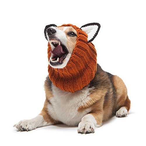 Zoo Snoods Fox Dog Costume – Neck and Ear Warmer Hood for Pets (Medium)