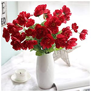 15 Pcs latex Corn Poppies Decorative Silk fake artificial poppy flowers for Wedding holiday Bridal Bouquet Home Party Decor,Red 113