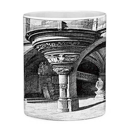 Lead Free Ceramic Coffee Mug Tea Cup White Gothic 11 Ounces Funny Coffee Mug Old Sketch of Antique Medieval European Arch in Paris Culture Heritage Vintage Art Black White
