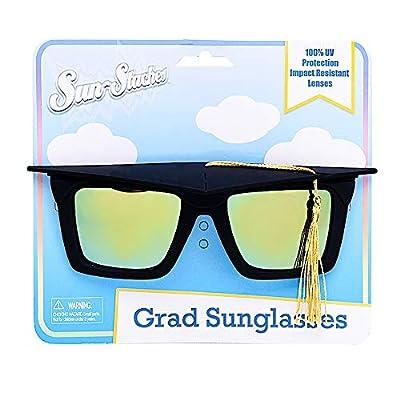 Sun-Staches Grad Tassle Cap Shades Graduation Celebration Grad Night Costume Party Favor Sunglasses UV400 Black: Toys & Games