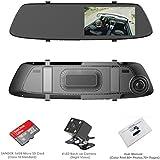 "Dash Cam, OUMAX RV55HD-M Rear View Mirror Dash Cam with Super Night Vision, 5.0"" IPS LCD, 1296P Ultra HD, 4-Lane Wide-Angle View Lens,12mm Slim Design – Black"