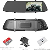 Dash Cam, OUMAX RV55HD-M Rear View Mirror Dash Cam with Super Night Vision, 5.0 IPS LCD, 1296P Ultra HD, 4-Lane Wide-Angle View Lens,12mm Slim Design – Black