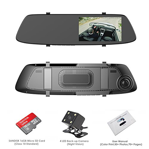 "Dash Cam, OUMAX RV55HD-M Rear View Mirror Dash Cam with Super Night Vision, 5.0"" IPS LCD, 1296P Ultra HD, 4-Lane Wide-Angle View Lens,12mm Slim Design - Black"