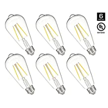 HyperSelect LED Edison Bulb 30W Equivalent - ST64 LED Filament Bulb 3W, Non-Dimmable, 2700K (Warm White), E26 Base, UL - Pack of 6