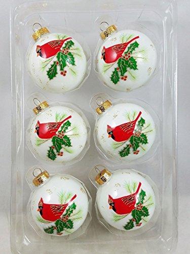 KSA Red Cardinal Bird Glass Christmas Ornaments Set of 6 Boxed