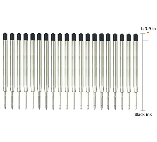 Medium Black Ballpoint Refill (Ballpoint Pen Refills for Parker Pens, Medium Point,Metal Refill -Black Ink, Pack of 20)