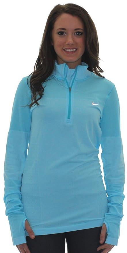 6113aa89 Amazon.com : Nike Women's Dri-Fit Half Zip Knit Long Sleeve Top (Sky ...