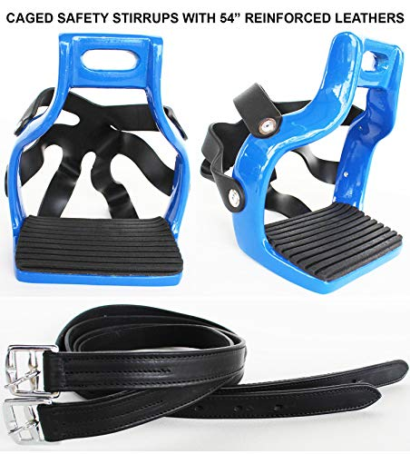 CHALLENGER Horse Saddle English Alumnium Endurance Safety Caged Stirrups Leather Combo 51110BUst