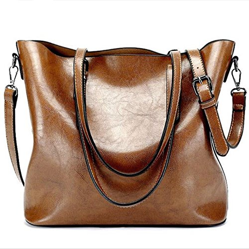 2018 New Fashion Women Pu Leather Handbags Lady Large Tote Bag Female Shoulder Bags Vntage Bag bolsas Femininas for Bolsa (Brown - Chris Trends Fashion Brown