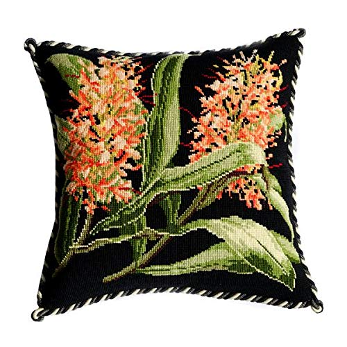 Ginger Lily Needlepoint Tapestry Kit with Black Background from Elizabeth Bradley Premium English Needlework Pillow or Rug Project with 100% Wool Yarns. Exotics - Pillow Needlepoint Orchid