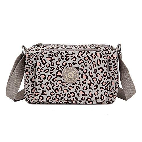 Sumcoa Waterproof Nylon Crossbody Bag Multi Function Light Handbag Casual Shoulder Bag (coffee leopard point)