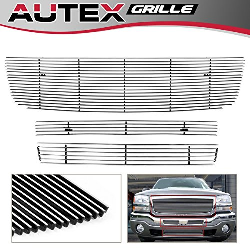 - AUTEX Aluminum Horizontal Billet Grille Grill Combo Insert Compatible With 2003-2006 GMC Sierra 1500/2500/3500 G67796A