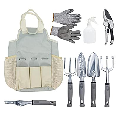 Touch-Rich aluminium 9 Piece Garden Tools Set - 6 Gardening Tools with a piece of Garden Gloves Flower Mister and Tools Bag- Gardening Gift Tools Set with Garden Trowel Pruners and More .