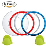Instant Pot Accessories Silicone Lid Cover 6 Quart + Silicone Sealing Ring gasket 5 or 6 quart + Free Silicone Oven Mitts, Sweet and Savoury,Common Clear Edition Ring Fit IP Models