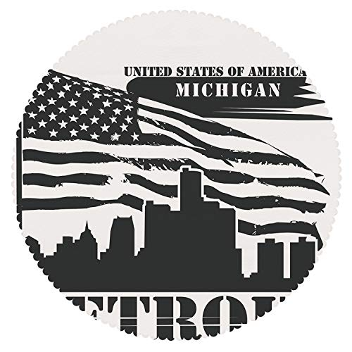 Michigan Industrial Shoe - iPrint Unique Round Tablecloth [ Detroit Decor,Monochrome Grunge City Silhouette American Flag United States Michigan Decorative,Black and White ] Decorative Ideas