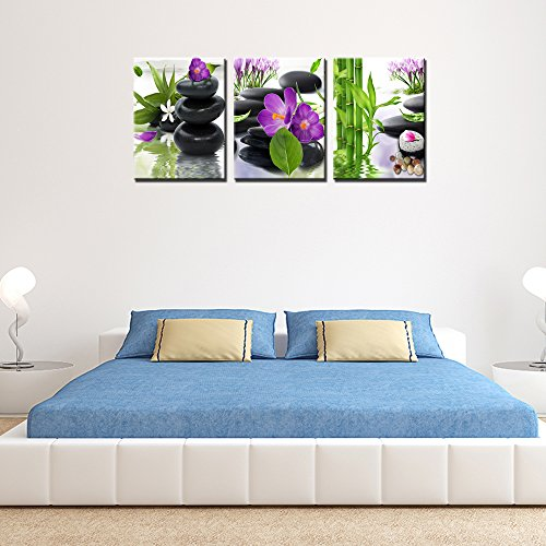 3 Panel Modern Spa Bamboo Zen Stone Purple Flowers Photograph Canvas Painting for Home Wall Decorative by ModeArt (Image #4)