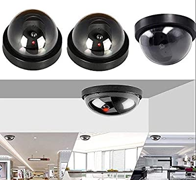Fake Dummy Camera LED Sensor Light 4 Packs,CCTV Waterproof Realistic Surveillance Security Red Flashing Light Dome Camera Outdoor Indoor,Save You a Lot Cost from Free Walker