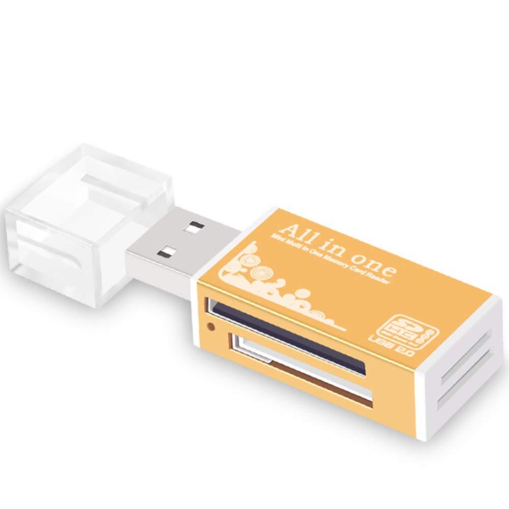 Lector Tarjetas Micro SD SD USB 2.0 para MicroSD,SD,Mini SDHC,TF,MS Duo,CF,MS Micro(M2),MS Pro,MINISD,ms Pro Duo,SDHC (Oro)