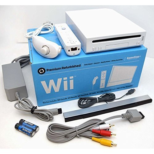 Nintendo Wii WHITE Video Game Console System Bundle Online RVL-001 GameCube Port (Wii Console Refurbished)