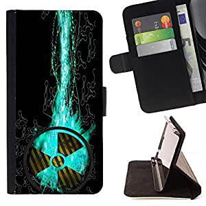 For Apple iPod Touch 6 6th Generation Nuclear Sign Danger Symbol Art Propeller Style PU Leather Case Wallet Flip Stand Flap Closure Cover